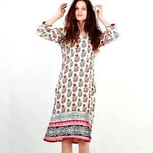 Vintage Folk, Oriental, Cotton, Floral Tunic
